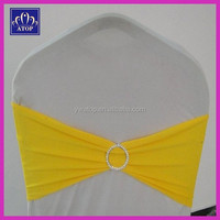 Yellow Spandex Chair Cover Sash Lycra Chair Bow With Diamond Buckle