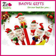 Top Selling Christmas Polymer Clay Ballpoint Pen Promotional Custom Logo Polymer Clay Pen Santa Claus Snowman Shape Pen