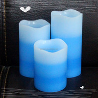 Holiday lighting exporting electronic wax pillar candle LED with colorful layer
