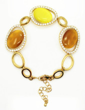 Sunshine orange ovoid opal bead bracelet gold plated chain bracelet 2015