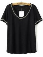 T-shirts Tops fashion women girl clothes Black V Neck Short Sleeve Bead T-Shirt