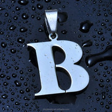 Hot sale High polish Stainless Steel Alphabet B Charm Pendant