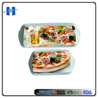 30% Melamine Rectangle Tray With Two Handle With Pizza Design