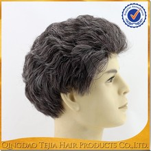 Synthetic black and grey mixed natural looking cheap lace front wig for black man
