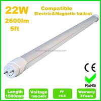 22W 1500mm compatible electronic ballast led tube light t8,directly replace t8 fluorescent tube