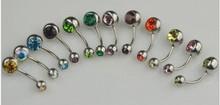Double Gemstone Crystal Navel Belly Bars Rings Wholesale Body Piercing
