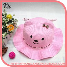 Baby Toddle Paper Straw Hat/ Children Hat/ Cute Ear bear Paper straw Hat