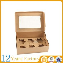 brown window kraft paper clear cupcake box