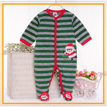 100% Cotton green stripe 2016 baby clothing sets