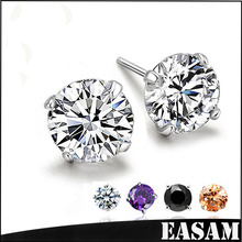 2016 fashion ear ornaments,wholesale price earring,925 Sterling Silver Jewelry with white/black/purple/champagne 3A zircon