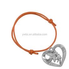 Fancy Design Zinc Alloy Metal Butterfly Fairy In Heart Charm Cord Bracelet For Girls