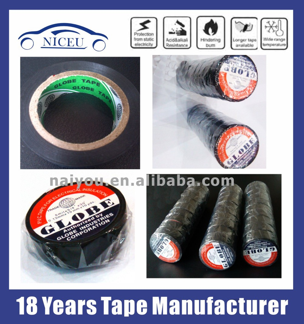 013mm19mm10yds Globe Pvc Tape For Automobile Wire Harness Wiring Manufacturers 5 4 7