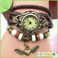 2016 Weave Wrap Synthetic Leather Bracelet Lady Women's Wrist Watch Angle Wing Bracelet