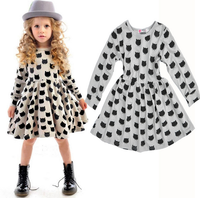 W51435Q 2015 European and American girls baby dresses cat pattern print comfortable cotton stretch bottoming dress