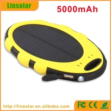 factory price waterproof 5000mAh solar cell power bank for smartphone