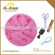 Make up Scissors mirror comb hair dryer Silicone mold for fondant cake decorating tools