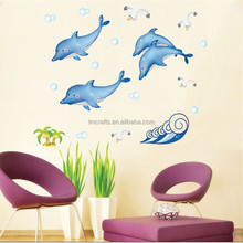 Fashion New Cartoon Dolphin Vinyl Wall Decals For Children Kids Room Wall Stickers Bathroom Decoration window Stickers DM57-0102