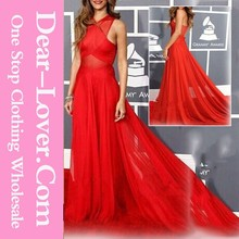 Elegant Red Illusion Burgundy Chiffon Slim Flare Evening dress