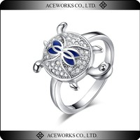 Wholesale Fashion Animal Ring Cute Antique Silver Tortoise Ring