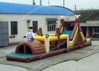 New design large inflatable pirate boat/inflatable sport games/trampoline slide