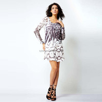 New fashion long sleeve laddy polyester day dress