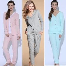 Autumn Long Sleeve Long Pants V Neck Cotton Lady Women Pijama Adult Pjama