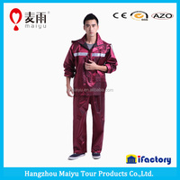 190t polyester pvc coating rainsuit real work wear