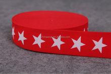 Red ground white Star Jacquard nylon elastic band
