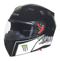 DOT New model double visors flip up helmet WLT-118 BLACK