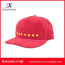 novelty desigh your logo all over corduroy and stars in front cheap 5 panel camper caps wholesale