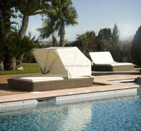 Mimosa Outdoor Furniture Wicker Rattan Pool Sunbed With Canopy(DH-305)