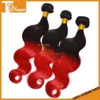 Mixed Length 3pcs/set 14 16 18 Permanent Peruvian Remy Wavy Two Tone Color Hair 1B/Red Body Wave Ombre Hair Extensions