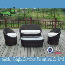 2015 cheap garden sofa rattan sofa outdoor furniture 1+2+1 sofa with alu frame