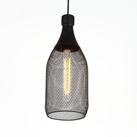 Middle metal pendant light, winebottle shape vintage industrial hanging lamp Edison bulb E27