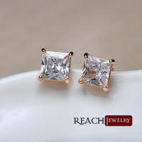 Exquisite fancy zircon alloy square earring ,stud dangler for ladies