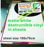 Various printing methods matte white finish destructible vinyl material jumpo rolls/sheets, Minrui warranty sticker label paper
