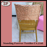 Wholesale pink gold sequin chair cover