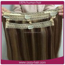 2015 New Design European hair flip in hair extension fish wire chocolate hair extension