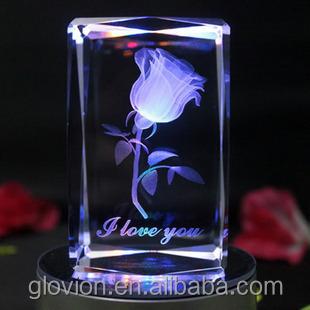 Romantic Crystal Rose Gift Wedding Crystal Rose Wedding