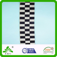 Chequer Pattern Black and White 30mm Nylon Elastic Band