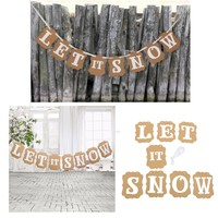 New Card Bunting Banner LET IT SNOW Christmas Wedding Birthday Party Supplies Winter Hanging Decor For Home Office
