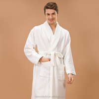 white shawl collar waffle diamond night gowns for men contain 35% polyester bathrobes