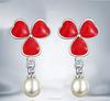 Fashion red clover pear drop earring,925 silver earring
