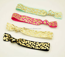 Leopard Foil Elastic Hair Tie Fold Over Elastic Hair Band