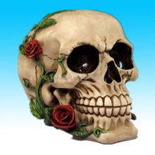 Romántico cráneo con rosas rojas de halloween decoraciones del cráneo de la cabeza