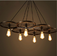Vintage industrial style rustic iron carriage wheel large pendant lamp with edison bulb light