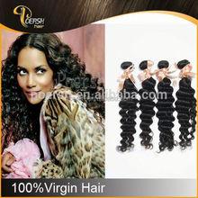 POERSH 6A 100% Unprocessed Natural Black Deep Wave mixed grey wig