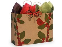 VOGUE Red Bird Berries 100% Rec Christmas ASSORT Shopping Paper Bags