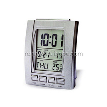 Digital LCD alarm clock with weather station