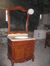 """36"""" dark red antique design marble countertop solid bathroom furniture by hand carved process"""